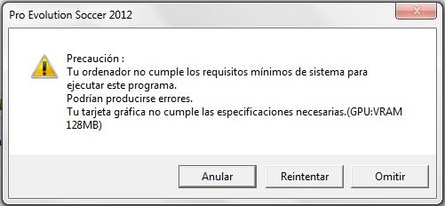 Error PES2012