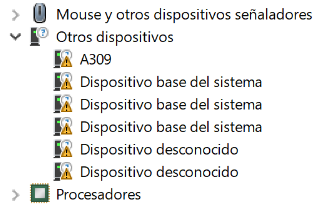 Dispositivos con error