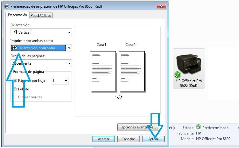 Image result for imprimir a doble cara impresora HP