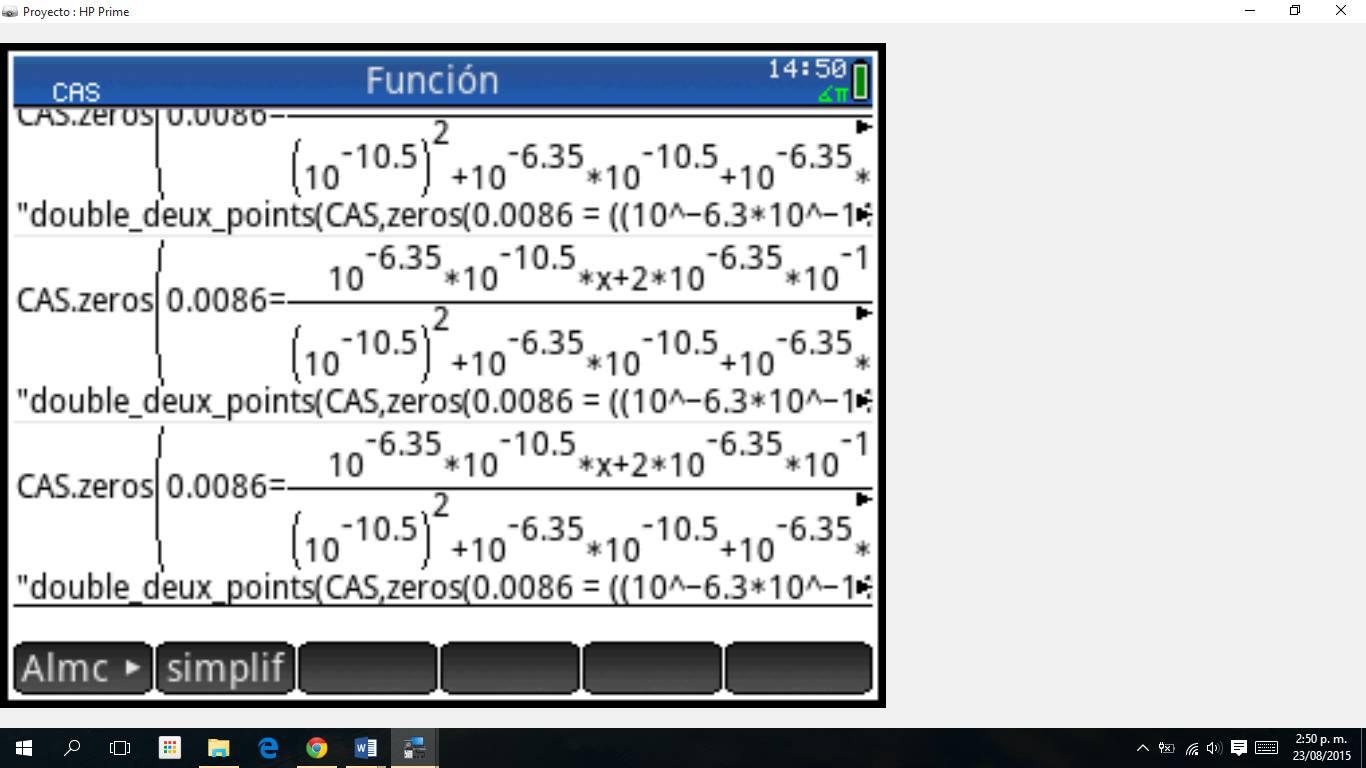 Error calculadora HP prime