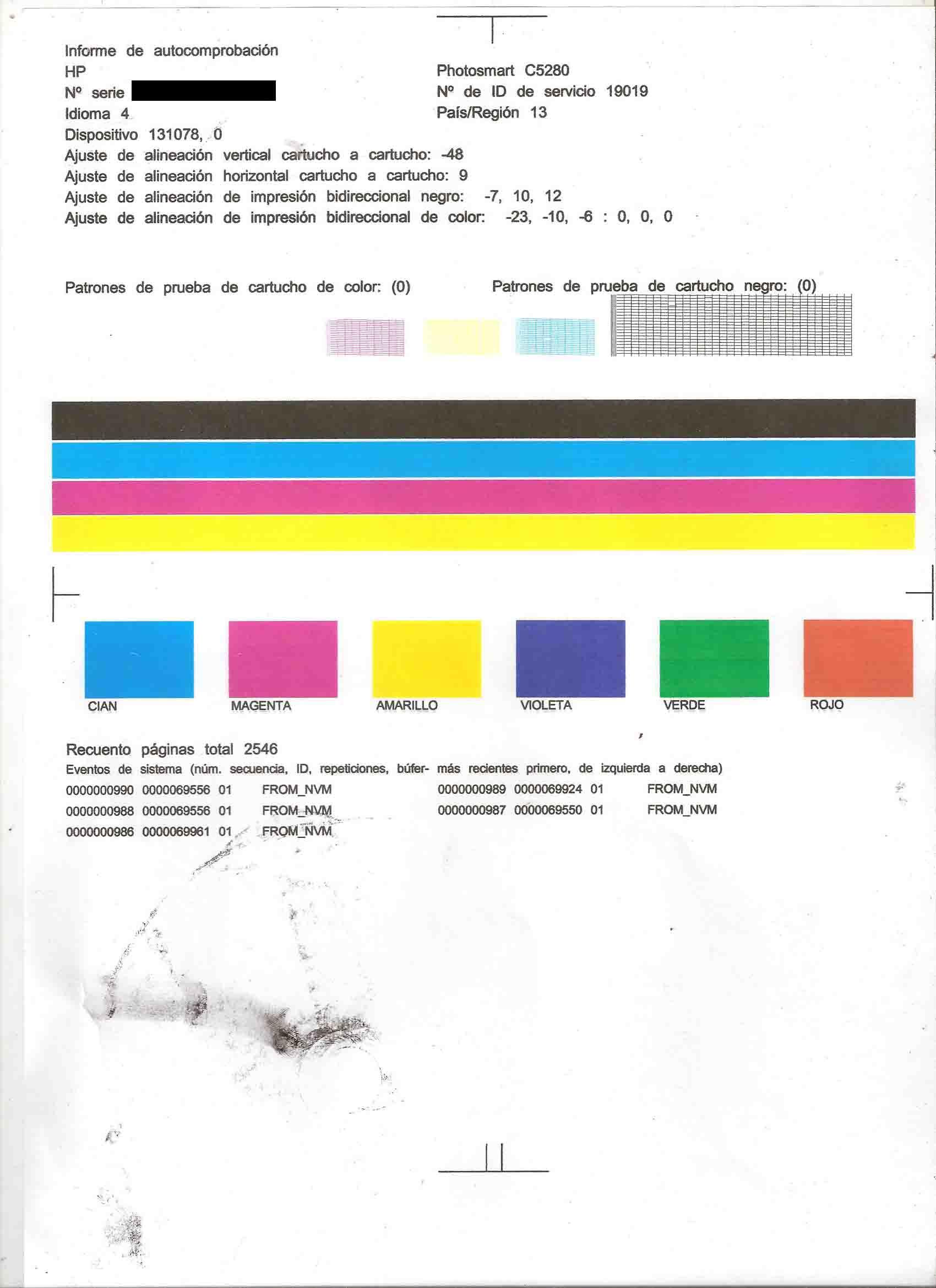 Increíble Color De La Página De Prueba De La Impresora Hp Bosquejo ...