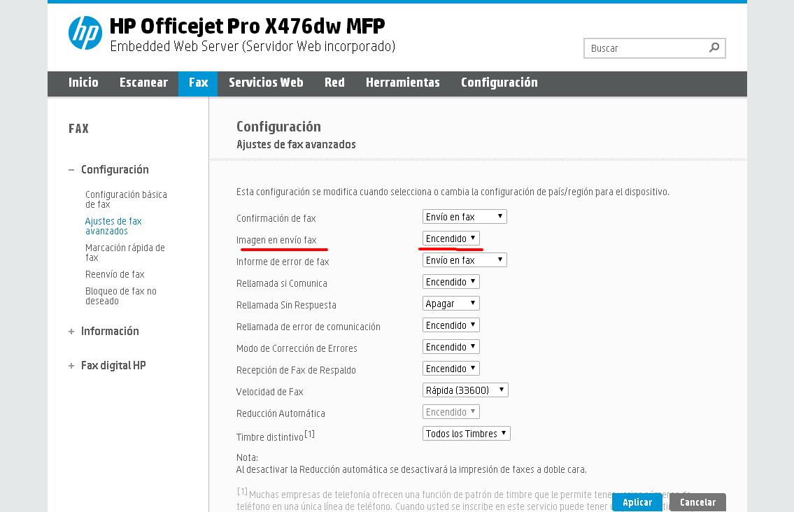 configuracion FAX - HP Officejet Pro X476dw MFP.png
