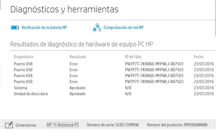 Diagnostico puertos USB