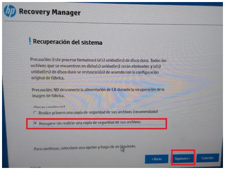 Recuperar sin hacer copia de seguridad de sus archivos