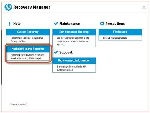 Pantalla principal de HP Recovery Manager