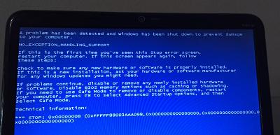 pantallazo azul luego de instalar controlador HP