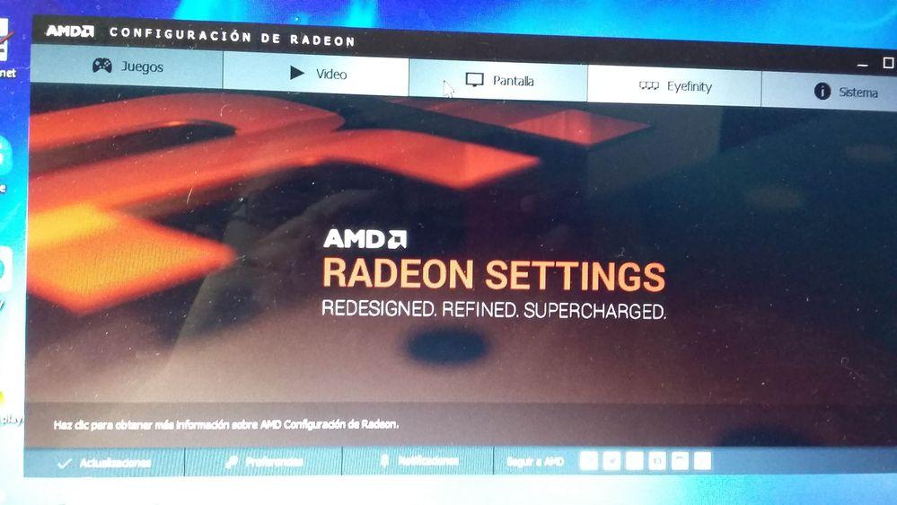 El programa del botón configuración de Radeon.