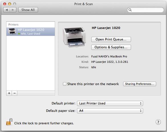 HP Laserjet 1020 instalado en Mac