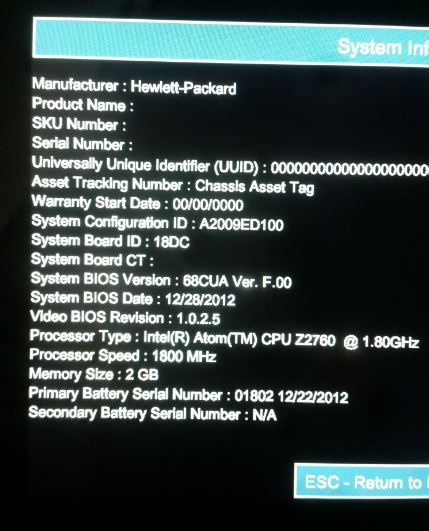 F1 Sistem Info