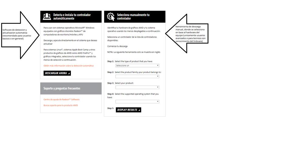 SW de actualizacion (izquierda), descagra manual (derecha)