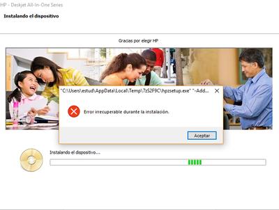 Mensaje de error durante la instalacion de la multifuncional Hp.
