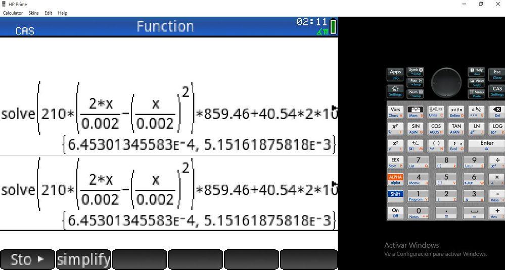 Calculadora virtual. He introducido los mismo datos en mi calculadora fisica y lo resuelve sin problemas