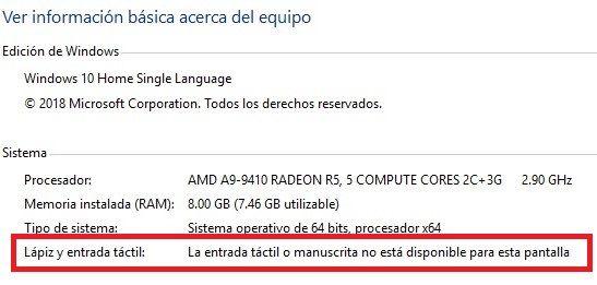 En propiedades de la PC indica que no esta disponible la pantalla táctii