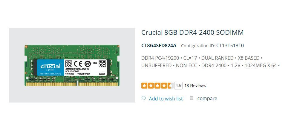 RAM Crucial 8GB Single DDR4 2400 (PC4-19200) DR x8 SODIMM 260-Pin Memory - CT8G4SFD824A.JPG