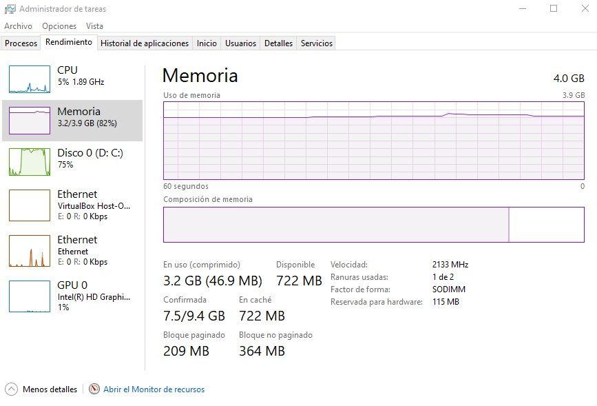 Estadisticas de uso de la memoria RAM