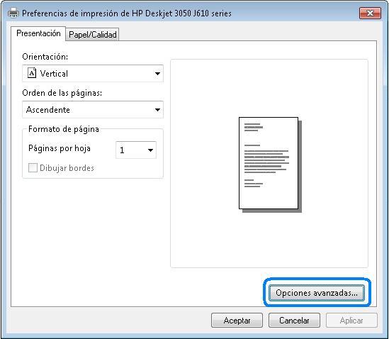 Solucionado: Foro HP - Como eligo si imprimo en blanco y negro o en ...