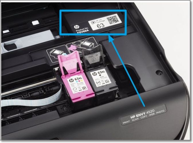 Etiqueta de Codigos de cartucho adentro de la impresora