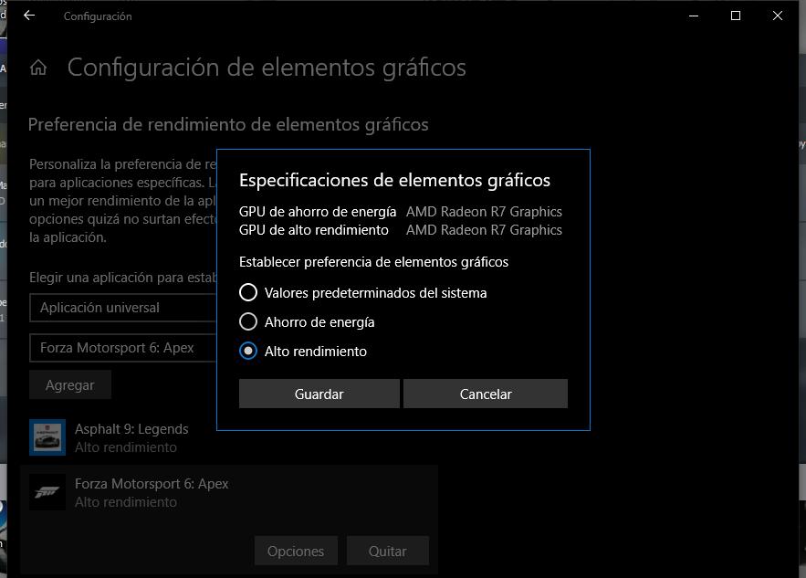 la configuracion del windows