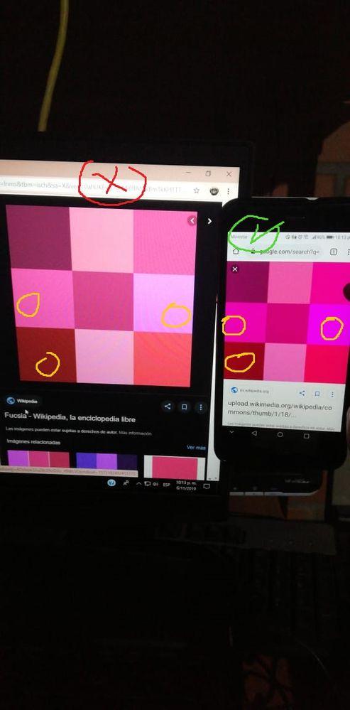 Se nota la diferencia.. en mi laptop el color fucsia parece rosado opaco.
