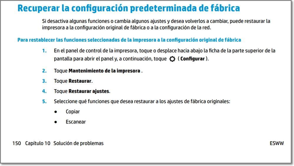 Officejet 7740 restaurar valores.       ferrx