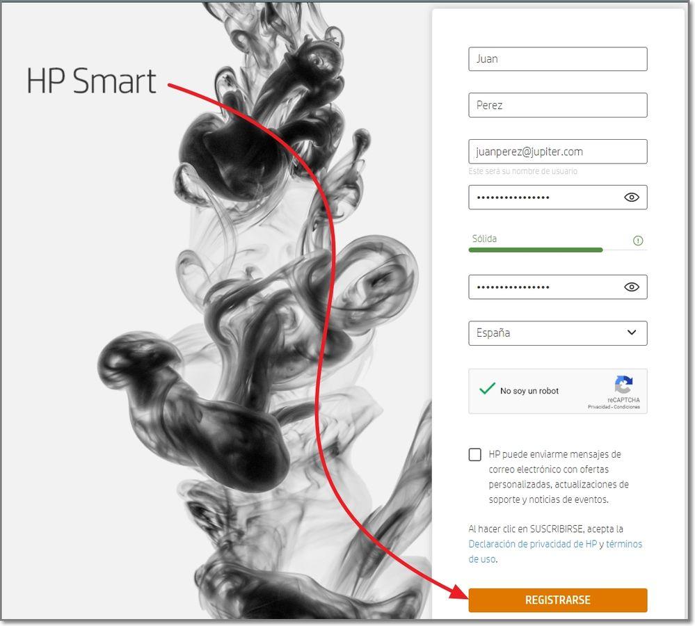 HP Smart registrarse.    ferrx