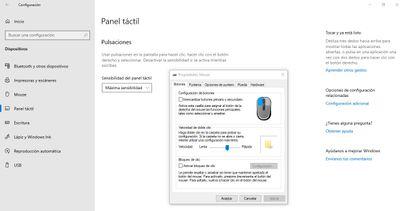 No aparece una pestaña para configurar el Panel Táctil