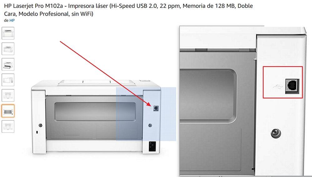 Laserjet M102a conector puerto USB.