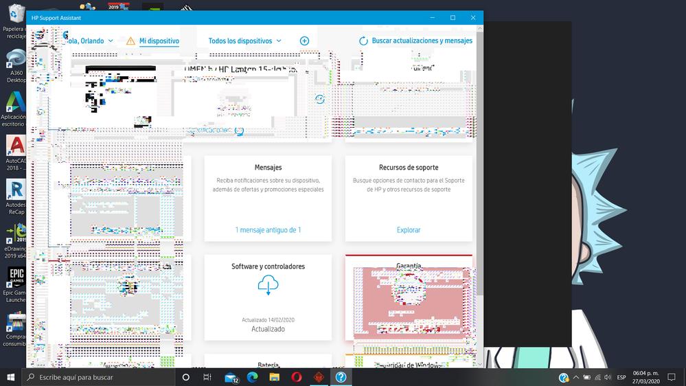 Cuando se refresca la pantalla o haces das click en algo se compone