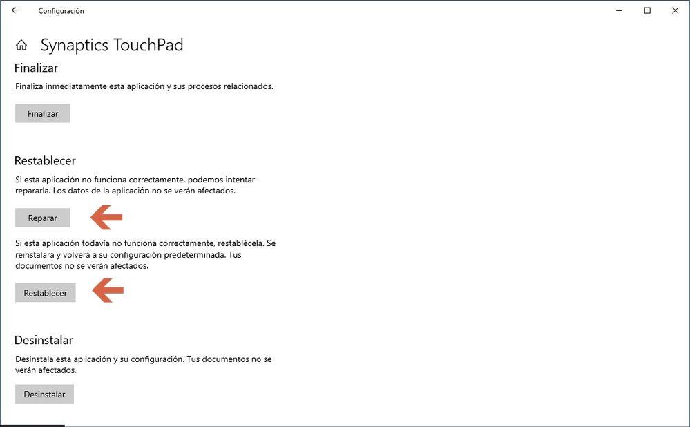 Reparar y restablecer ClickPad