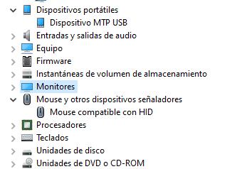 Solo aparece el MOUSE USB que conecté