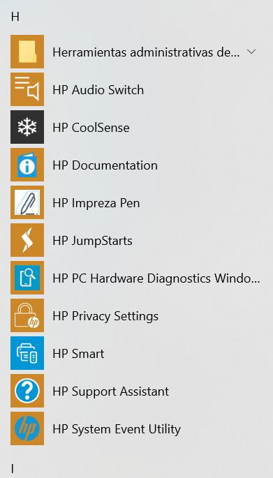 Esto es todo lo de HP que tiene mi sistema
