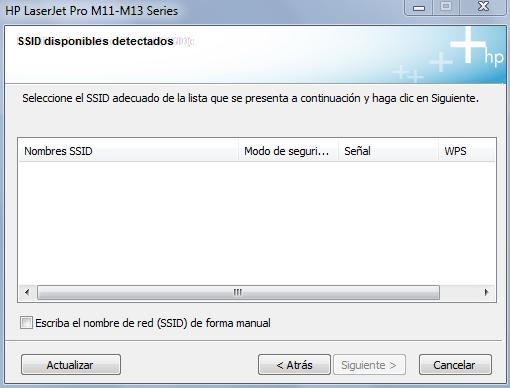 Como se ve, el proceso de instalación no encuentra ningún SSID.