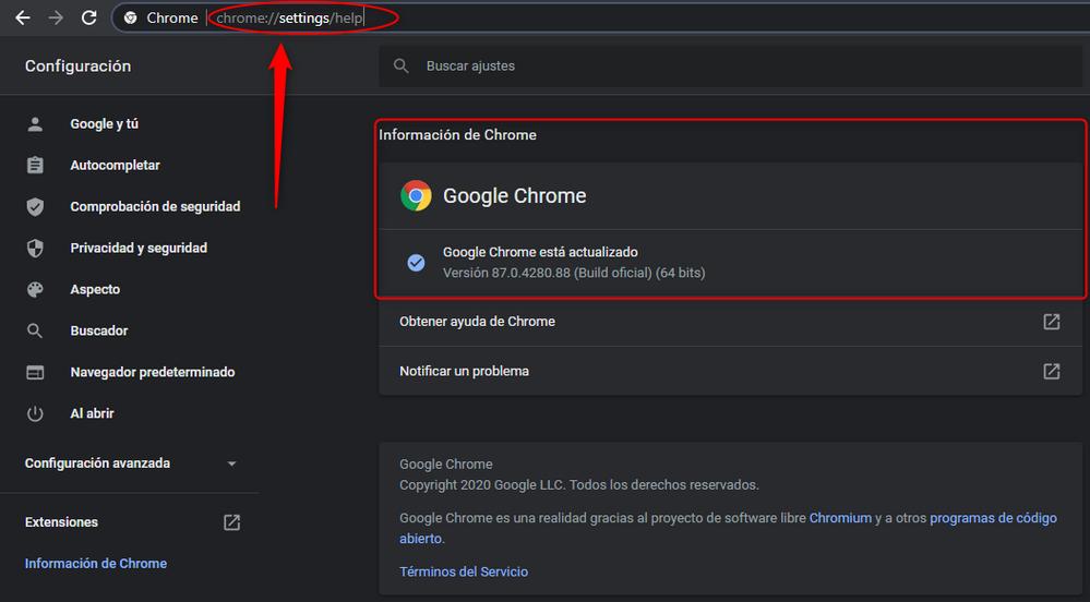Verificando y actualizando Chrome.