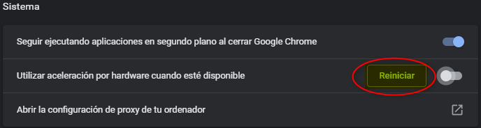Reiniciar navegador.
