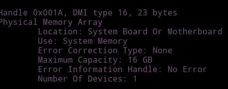 y segun e mirado con unos comando en distro linux la capacidad maxima de la board al parecer es de 16